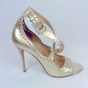 Marchesa gold stunning heels NWOT